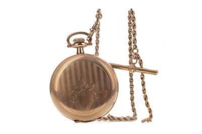 Lot 723 - A GOLD PLATED ELGIN POCKET WATCH AND A GOLD WATCH CHAIN