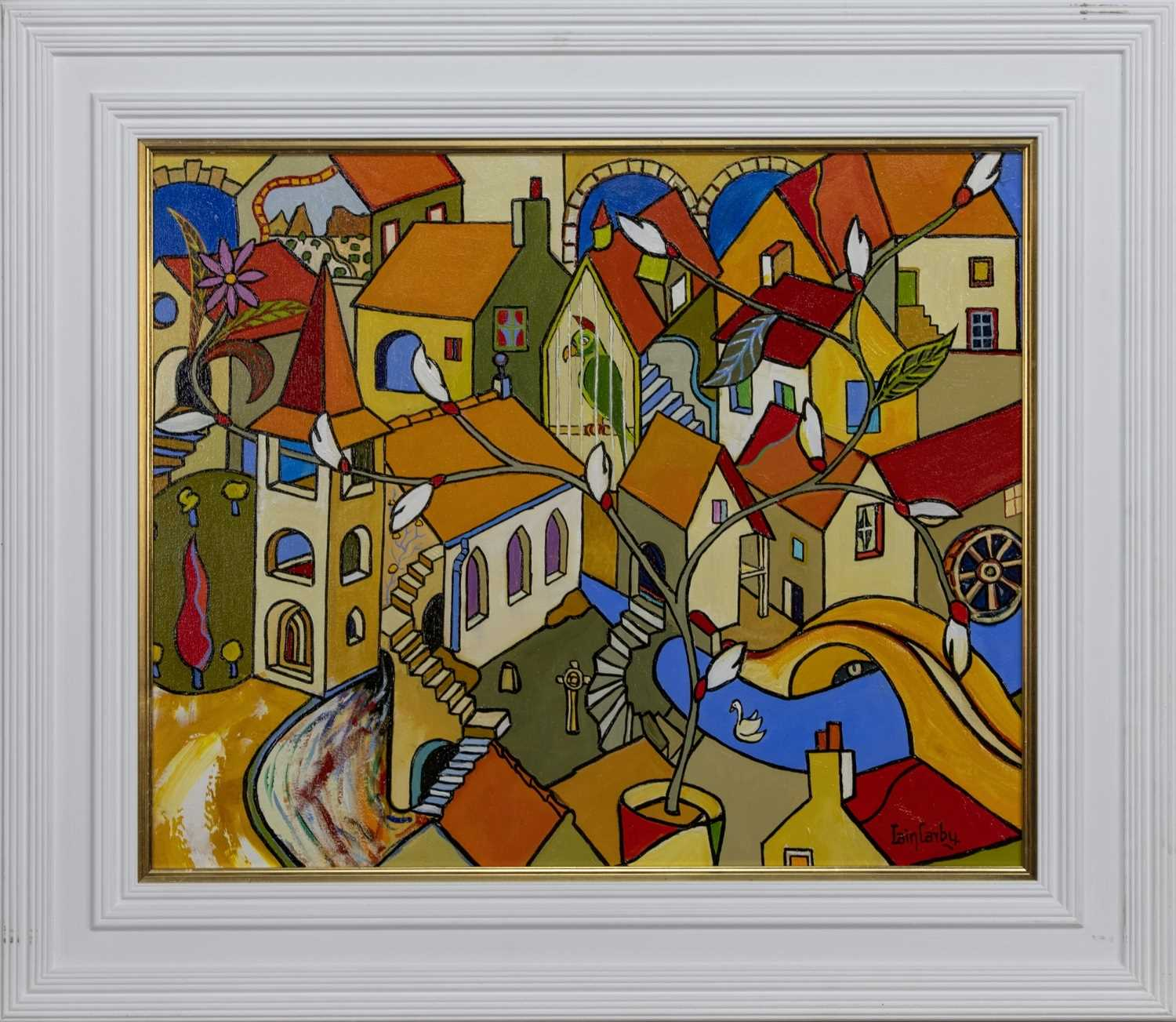 Lot 656 - THE CHURCH AND A PARROT, AN OIL BY IAIN CARBY