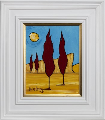 Lot 657 - RED TREES IN PAIRS AND THE MOON, AN OIL BY IAIN CARBY