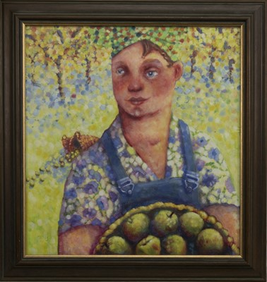 Lot 662 - THE APPLE PICKER, AN OIL BY RUTH RIVERS