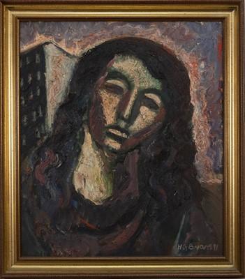 Lot 670 - PORTRAIT HEAD FEMALE, AN OIL BY BYARS