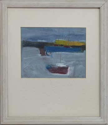 Lot 674 - HARBOUR BLUE, A MIXED MEDIA BY ESTHER DONALDSON