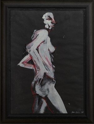 Lot 683 - RED/BLACK NUDE FIGURE, A MIXED MEDIA BY SARA OGILVIE