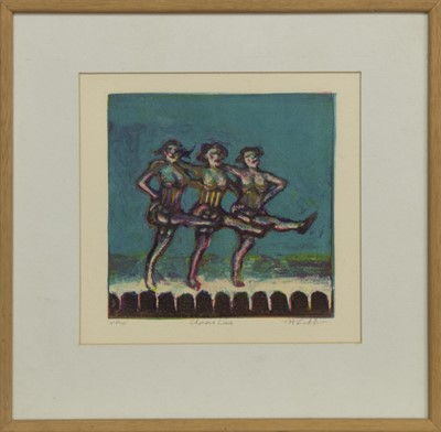Lot 688 - CHORUS LINE, A COLOURED ETCHING BY TIM COCKBURN