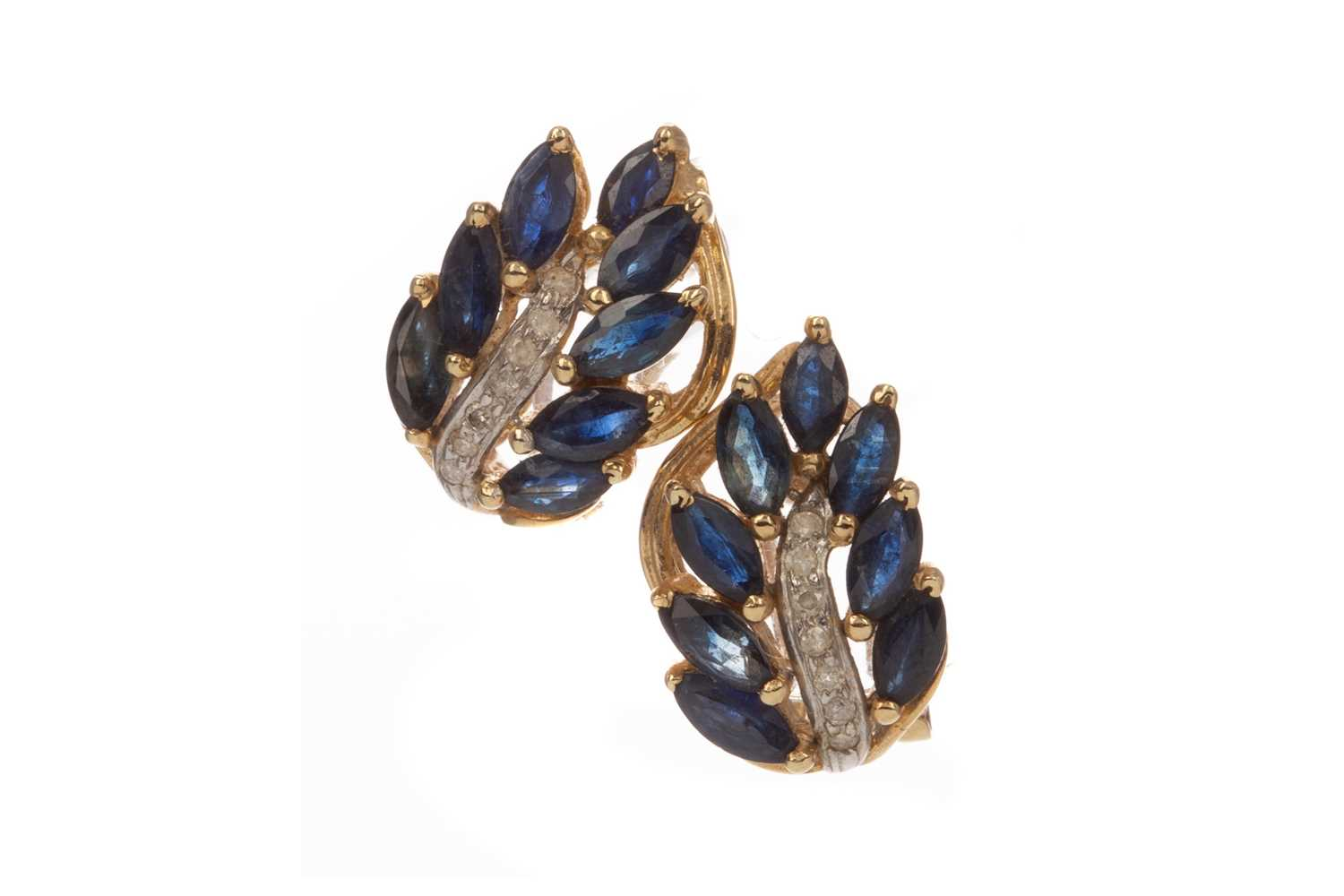Lot 365 - A PAIR OF SAPPHIRE AND DIAMOND EARRINGS