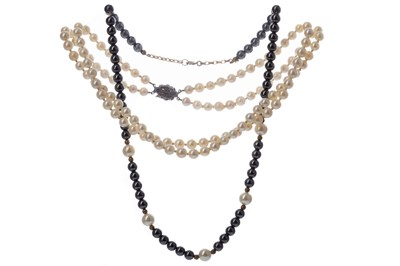 Lot 436 - A PEARL NECKLACE, ONE OTHER AND A PAIR OF FAUX PEARL EARRINGS