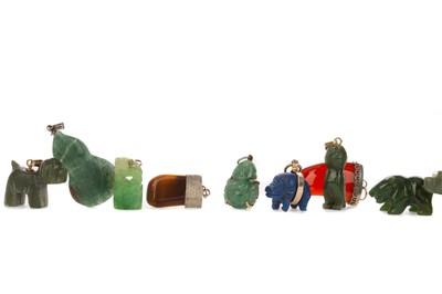 Lot 433 - A COLLECTION OF HARDSTONE PENDANTS