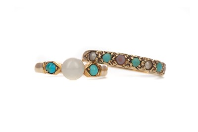 Lot 439 - TWO TURQUOISE RINGS