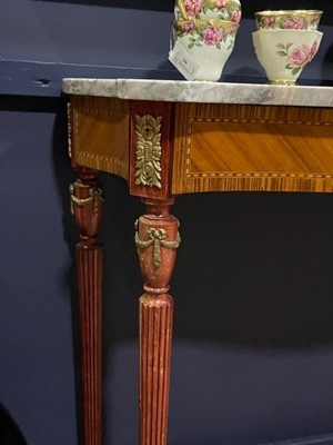 Lot 8 - A FRENCH MARBLE TOPPED KINGWOOD CONSOLE TABLE