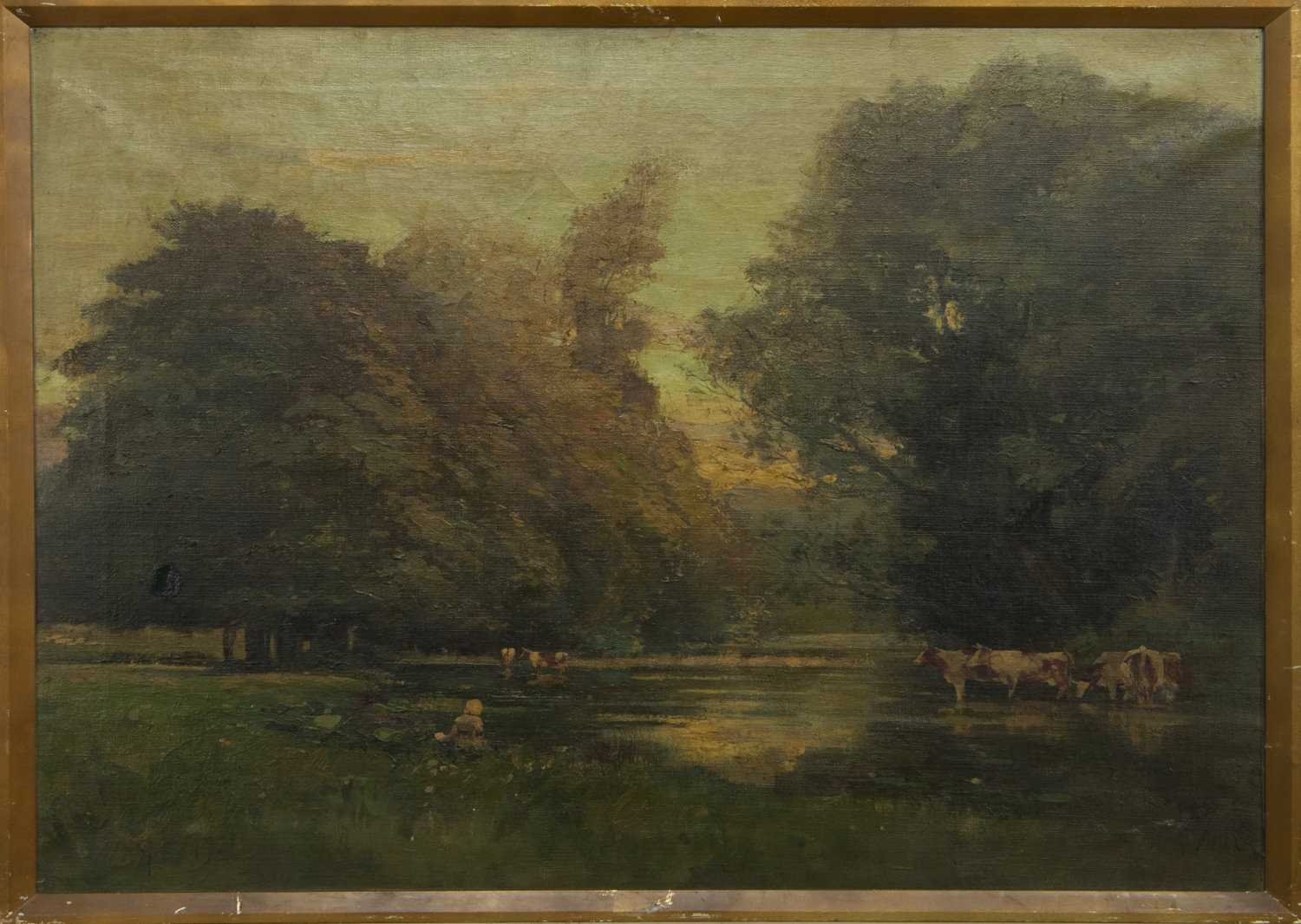 Lot 90 - WATERING THE CATTLE, AN OIL BY GEORGE NEIL
