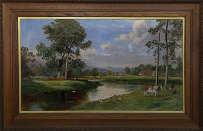 Lot 459 - CATTLE ON THE BURN, A LARGE OIL BY JOHN FRASER