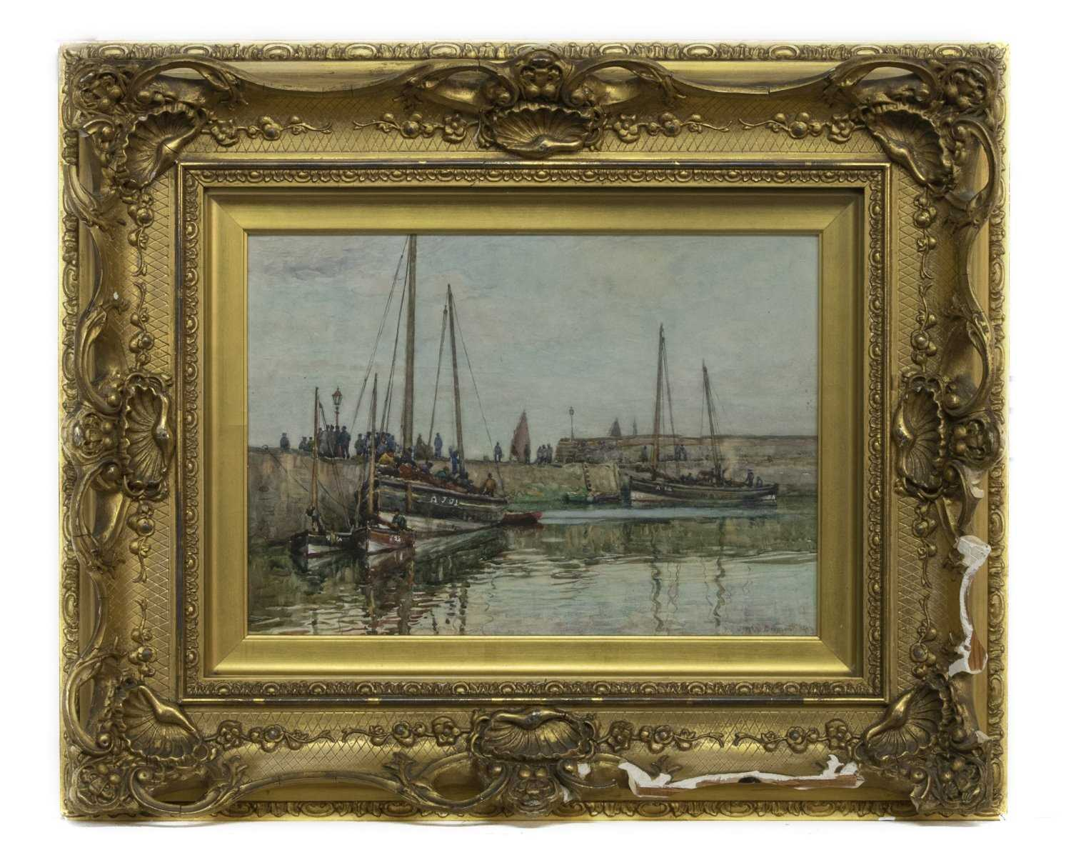 Lot 93 - SAILS AT DOCK, AN OIL
