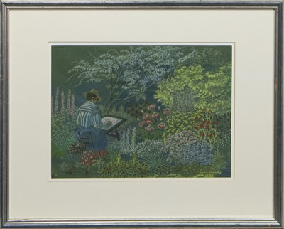 Lot 462 - SKETCHING IN THE GARDEN, A PASTEL BY JUNE SHANKS