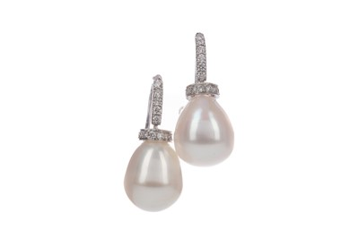 Lot 406 - A PAIR OF PEARL AND DIAMOND EARRINGS