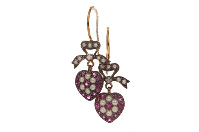 Lot 418 - A PAIR OF RUBY AND DIAMOND EARRINGS