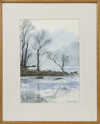 Lot 465 - MORNING ON LOCH LOMOND, A WATERCOLOUR BY J CRAWFORD