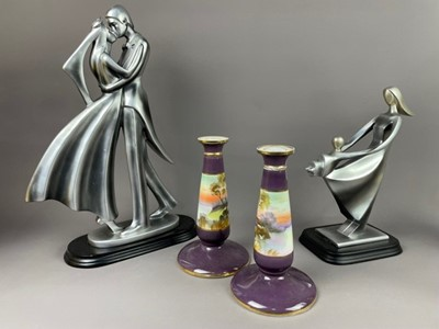 Lot 92 - A PAIR OF NORITAKE CANDLESTICKS, VASES, CANDLESTICK AND FIGURES