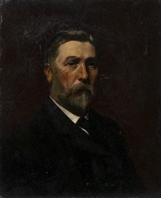 Lot 494 - PORTRAIT OF A MAN, AN OIL BY SAM FULTON