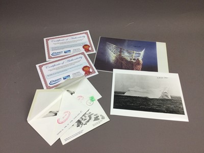 Lot 102 - A LOT OF TITANIC INTEREST PHOTOGRAPHS AND PRINTS ALONG WITH THREE FIRST DAY COVERS