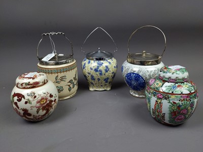 Lot 75 - A LOT OF THREE VICTORIAN BISCUIT BARRELS ALONG WITH TWO GINGER JARS