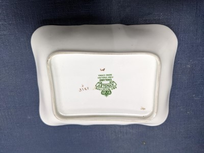 Lot 76 - A BOXED AYNSLEY PLATE AND KNIFE ALONG WITH A DISH, JAR AND COVER