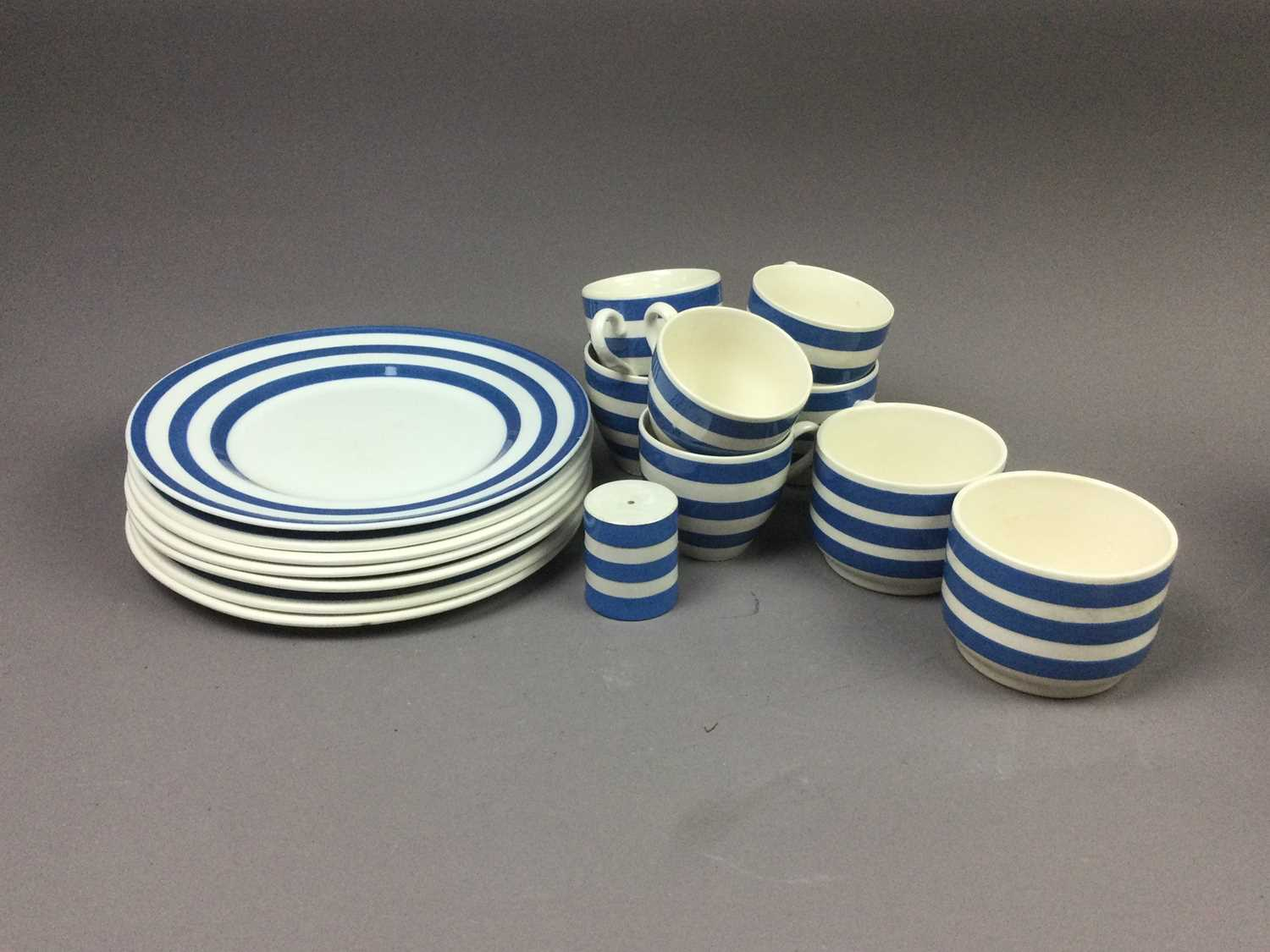 Lot 81 - A CORNISH WARE STYLE BLUE AND WHITE STAFFORDSHIRE BREAKFAST SET