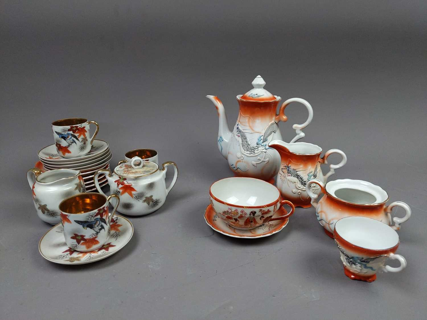 Lot 83 - A LOT OF THREE JAPANESE COFFEE SERVICES