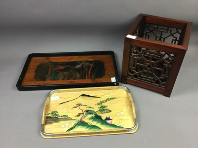 Lot 87 - A LOT OF TWO CHINESE TRAYS ALONG WITH A JARDINIERE AND A STAND