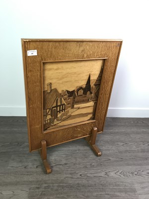 Lot 89 - A MARQUETRY FIRE SCREEN ALONG WITH A SERVING TRAY