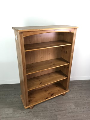 Lot 88 - A LOT OF TWO PINE OPEN BOOKCASES ALONG WITH A CHEST OF DRAWERS