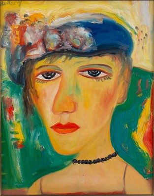 Lot 633 - THE ITALIAN LADY, AN OIL BY JOHN BELLANY