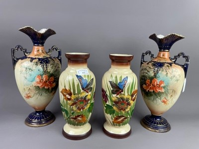 Lot 112 - A PAIR OF VICTORIAN VASES ALONG WITH ANOTHER PAIR