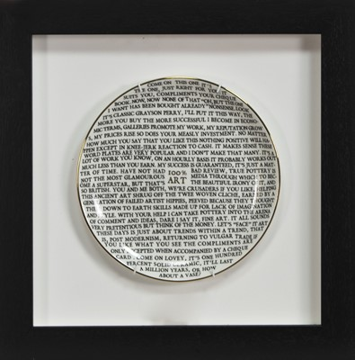 Lot 636 - 100% ART PLATE BY GRAYSON PERRY