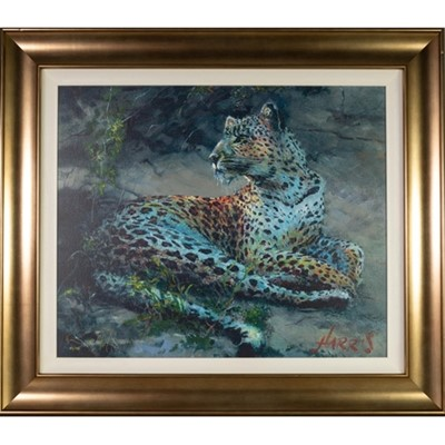 Lot 681 - LEOPARD RECLINING AT DUSK, A CANVAS PRINT BY ROLF HARRIS