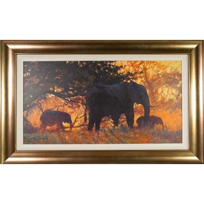 Lot 678 - BACKLIT GOLD, A CANVAS PRINT BY ROLD HARRIS
