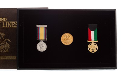 Lot 94 - BEHIND ENEMY LINES GULF WAR COLLECTION SOVEREIGN AND MEDAL SET