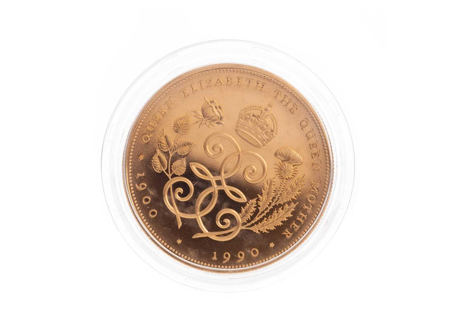 Lot 95 - THE QUEEN MOTHER 90TH BIRTHDAY GOLD PROOF COIN