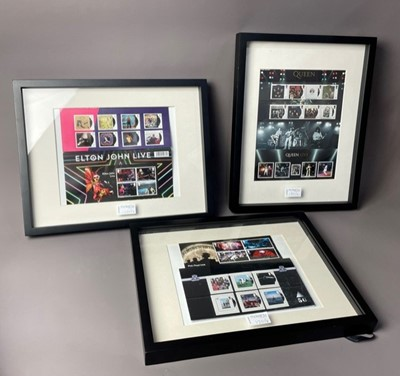 Lot 120 - A FRAMED ROYAL MAIL BEATLES STAMPS FIRST DAY COVER, ALONG WITH OTHER MEMORABILIA