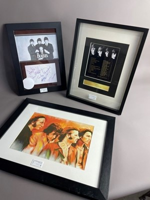 Lot 122 - A BEATLES PRINT AFTER JONATHAN WOOD ALONG WITH OTHER FRAMED BEATLES INTEREST PRINTS