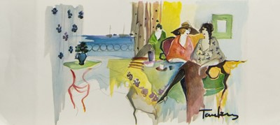 Lot 470 - AFTERNOON CHAT, A MIXED MEDIA BY ITZCHAK TARKAY