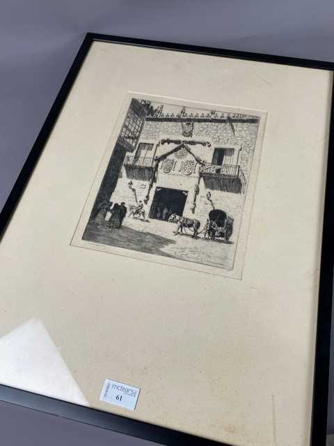 Lot 61 - CASA DEL CORDON BURGOS - AN ETCHING BY LIONEL LINDSDAY