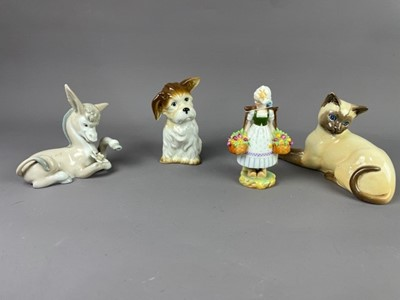 Lot 62 - A LLADRO GROUP OF A BOY AND DOG ALONG WITH OTHER CERAMICS