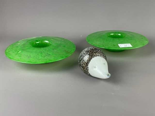 Lot 64 - A PAIR OF ART GLASS MUSHROOM SHAPED DISHES ALONG WITH A PAPERWEIGHT