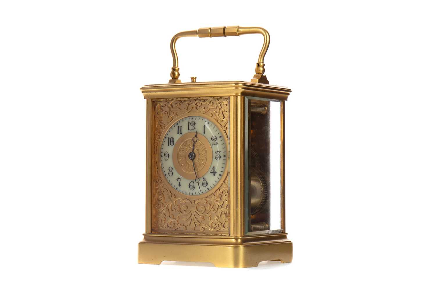 Lot A 19TH CENTURY BRASS CASED REPEATING CARRIAGE CLOCK BY GUY, LAMAILLE & CO