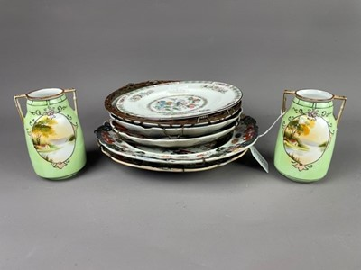 Lot 124 - A PAIR OF NORITAKE TWIN HANDLED VASES ALONG WITH OTHER ASIAN CIRCULAR PLATES