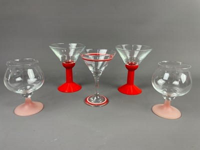 Lot 59 - A SET OF FIVE MARTINI GLASSES AND OTHER GLASSES