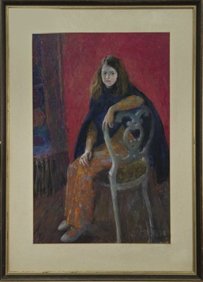 Lot 106 - ANNE IN A BLUE CAPE, A PASTEL BY WILLIAM ARMOUR