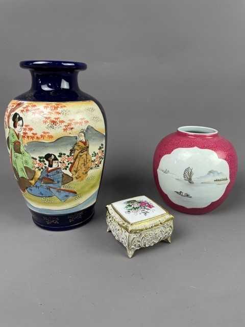 Lot 14 - A CHINESE GINGER JAR, JAPANESE SATSUMA VASE AND A TRINKET BOX