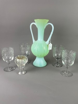 Lot 15 - A VICTORIAN VASELINE GLASS VASE, ANOTHER VASE AND FOUR GLASSES