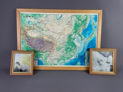Lot 57 - A LOT OF TWO PAINTINGS ON MARBLE, ALONG WITH A MAP